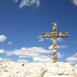 Alps Christian Cross on Top of a Mountain